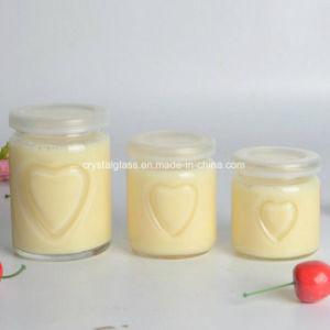 100ml de Fles van de Kruik van het Glas van de Pudding van de melk met de Decoratie van het Overdrukplaatje
