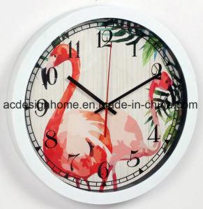 Orologio di parete di plastica decorativo bianco del bello uccello elegante Summery tropicale d'avanguardia del fenicottero