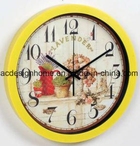 Buon orologio di parete rotondo giallo decorativo di vendita di prezzi migliori con il disegno del negozio di fiori delle lavande