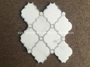 Mozaïek van de Straal van het Water van het Patroon van de Diamant van Bianco het Witte Marmeren voor de Tegel van de Muur