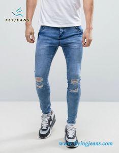 Jeans scarni degli uomini con afflitto e fori (P.E. 4353)