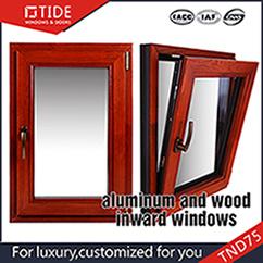 75 serie Aluminum Wood Tilt Turn Windows Amarican Style Tilt su Windows