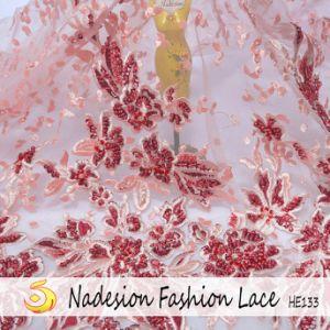 2018 3D con reborde de elegantes hechas a mano en tela de encaje bordado de hilos de oro