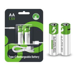Custom batería recargable de iones de litio AA AAA 1.5V tipo reutilizable C USB puerto de carga de batería de litio Wholesale