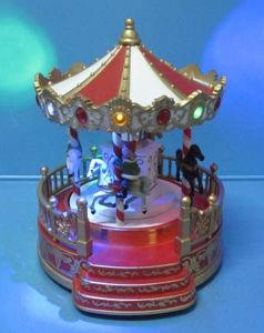 De Kunsten & de Ambachten van de Decoratie van Kerstmis van de hars 10 LEIDENE van de Duim van de Hoogte Muzikale Carrousel met Karakters Roating