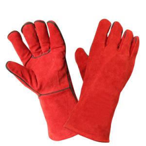 Красный Термостойкий стороны безопасность защитные перчатки сварочные работы из натуральной кожи