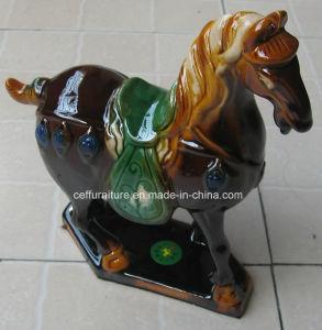 Tri cavallo di ceramica lustrato colorato della porcellana di dinastia di linguetta delle terraglie