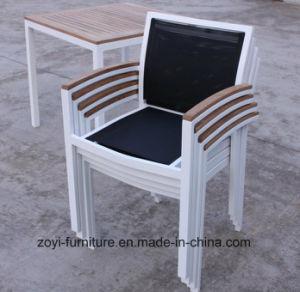5 PCS de mesa de madeira de teca jardim exterior Mobiliário Conjunto de jantar
