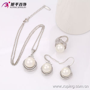 Gifts、Partyまたは結婚式63631のための銀Platedの卸し売りFashion Elegant Pearl CZ Jewelry Set