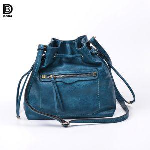 2018 Produits tendances PU coulisse en cuir pour dames de sac de godet