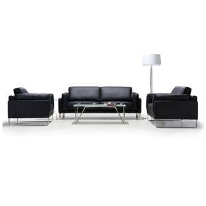 Estrutura de madeira de recepção do átrio moderno mobiliário de escritório sofá de couro