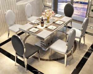 Diseño moderno juego de mesa de comedor de cristal templado