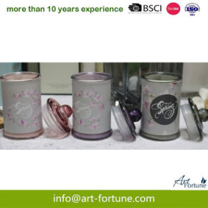 Recipiente de vidro Aroma Círio Jar com Etiqueta colorida para decoração