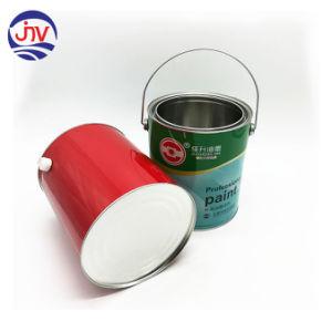 Lata de metal redonda com cuidado a tampa e alça plástica