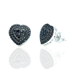 Nieuw kom Echte Zilveren Juwelen 925 met de Zwarte Oorring van de Nagel van de Steen aan