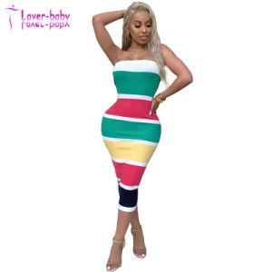 Hot Sale Women's clothing nouveau style de bloc de couleur occasionnel robe mi-mollet