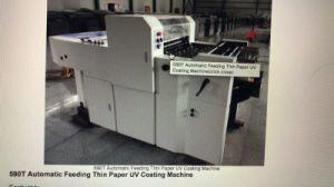 macchina di rivestimento UV automatica del documento sottile di 590t Newbinder con il rullo di Anilox e calibro per applicazioni di vernici dell'alloggiamento