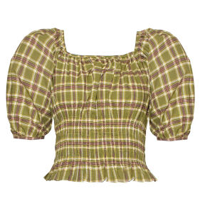 Bonitinha Plaid Smocked Verde cintura superior de cultura com mangas Puff