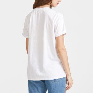 백색 손 제스처 인쇄 간결 소매 t-셔츠