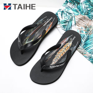 L'impression de plumes Lady Flip Flop en caoutchouc sandale Pantoufle de plage