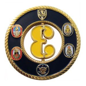 Fabrik-Verkaufs-Form-Schmucksache-Gold überzogene Emaille Uss Gladiator-Zink-Legierungs-Metallmünze (080)