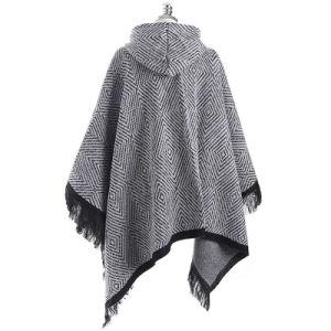 カシミヤ織のウールのポンチョのコートによって編まれるフード付きの幾何学的な女性のカーディガン岬の冬暖かい韓国様式の厚いPashminaの覆いのスカーフ