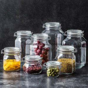 El uso de la cocina Jarra de cristal de almacenamiento de alimentos la tapa con Clip.