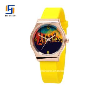 Aleación de color oro China Caso de la banda de silicona reloj Dama cuarzo