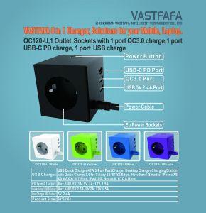 Protector contra sobretensiones con 1 puerto QC3.0 1 puerto de carga, de tipo C de carga, 1 puertos USB CHARGE