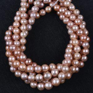 エジソンの円形のバロック式の自然な淡水の緩い真珠は繊維に玉を付ける