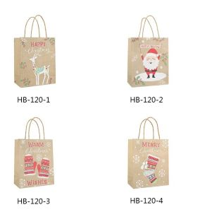 Soporte de papel Kraft presente Bolsas de regalos de Navidad de mango Shopping Festival