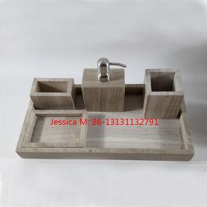5pcs conjunto de ba o de m rmol de efecto de madera se for Accesorios bano piedra