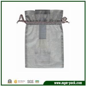 Umweltfreundlicher kundenspezifischer grauer Vierecks-Organzadrawstring-Beutel