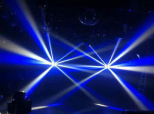 多彩な効果DJの照明を混合しているディスコクラブ