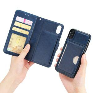 取り外し可能で堅いケースが付いている贅沢なPUの革フリップ札入れの電話カバー