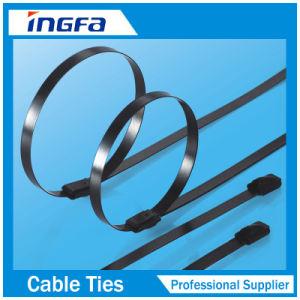 De volledig Met een laag bedekte Regelbare Banden van de Kabel van het Roestvrij staal met Gesp