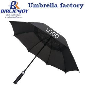 El doble de tamaño extra extra grande cubierta ventilada Windproof Stick Golf paraguas con la impresión de logotipo personalizado para regalos/promoción/publicidad