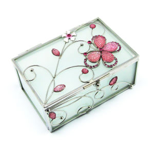 Contenitore di monili di vetro poco costoso di marchio su ordinazione all'ingrosso/contenitore di anello/contenitore di collana (Hx-7250)