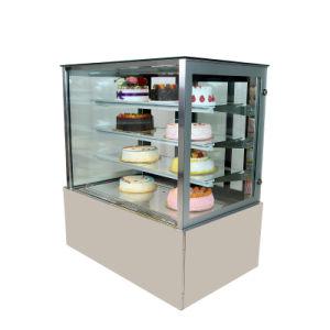 нержавеющая сталь Deluxe квадратных торт дисплей холодильный прилавок с четырьмя уровнями