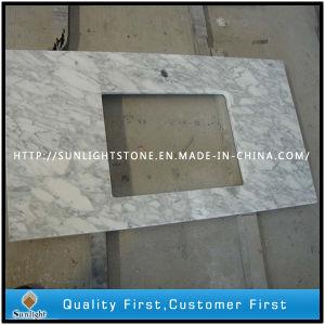 La matita orla il marmo bianco su ordinazione di Carrara/parte superiore di pietra di vanità della stanza da bagno