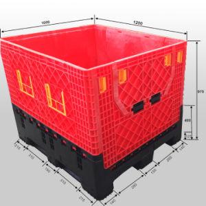 Dobrável e armazenamento de Frutas e Produtos Hortícolas as caixas de recipientes de paletes plásticos 1200x1000X975