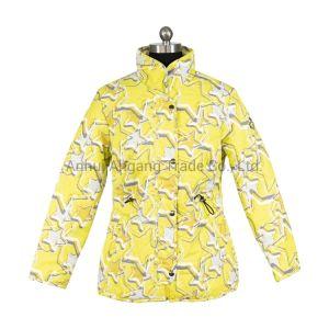 Желтый печать станции воротник куртки из полиэфирного волокна