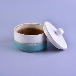 多彩な陶磁器の記憶の瓶の植木鉢の絵画はふたが付いている蝋燭ホールダーを設計する