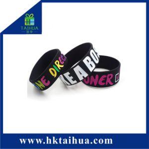 Pulsera de silicona de moda lleno de color brazalete con la impresión de logotipos