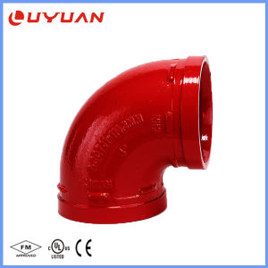 Aprobaciones UL FM ranurado de hierro dúctil codo con el 90 Grado 45 grado 22.5 grados para el sistema de seguridad contra incendios