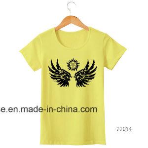 인쇄된 로고를 가진 숙녀 주문 면 백색 t-셔츠