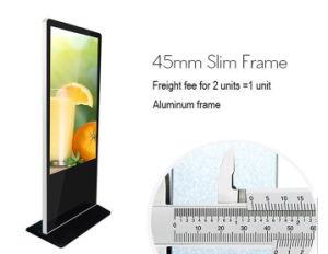 55 プレーヤー、4Kスクリーン人間の特徴をもつOSのクォードのコアRk3288 2.0gのキオスクを広告する立つ屋内床