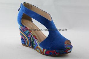 Peep Toe Wedge Fashion femmes sandale avec fermeture à glissière de la conception
