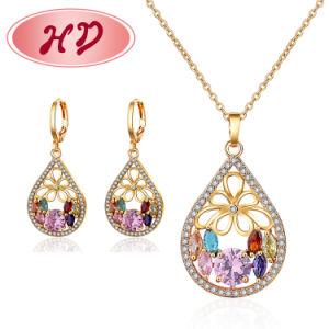 Fashion 18K banhado a ouro Imitação de Roupa Bracelete Anel jóias de charme com brincos, Pendente, Colar define jóias para Mulheres