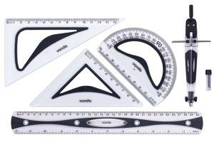 Nouveau mode de 30cm ensemble de la règle de l'école TPR+hanches couleur double règle avec coloré